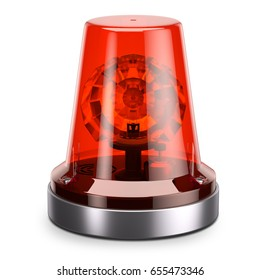 Emergency red siren light isolated white background 3d