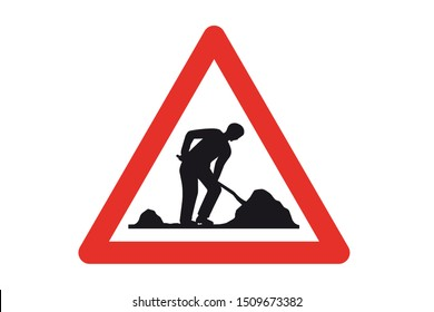 Emergency ,under construction road , Vector Illustration, Isolate On White Background Label.