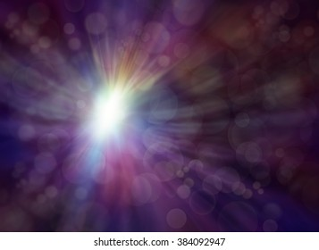 Emerging Light - subtle dark purple muted multicolored bokeh effect background with a light burst radiating outwards giving an ethereal angel-like appearance