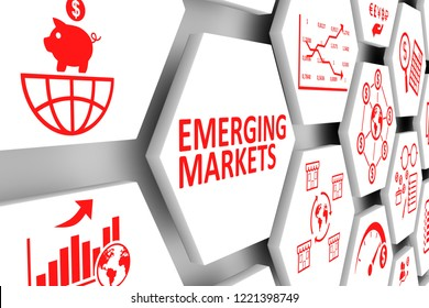 EMERGING MARKETS concept cell background 3d illustration