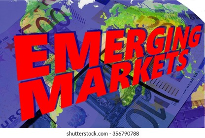 """Emerging Markets - On the world map are euro notes in blue, above the words """"emerging markets""""."""