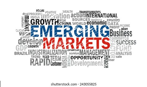 emerging markets word cloud with related tags