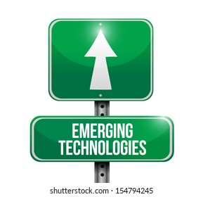 emerging technologies road sign illustration design over a white background