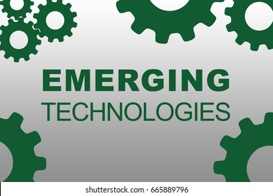 EMERGING TECHNOLOGIES sign concept illustration with green gear wheel figures on gray background