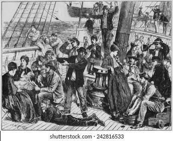 Emigrants on open deck of immigrant steamship to Canada, site land after at least two weeks at sea. The ship, GANGES, carried 761 people who paid 3 British pounds for their passage. April-May, 1871.