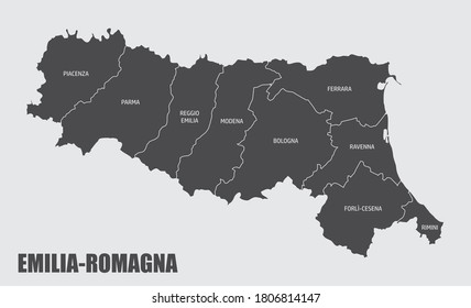 The Emilia-Romagna region map divided in provinces with labels, Italy