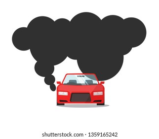 Emission CO2 of automobile fuel illustration, flat cartoon car with big smoke cloud gas, concept of carbon pollution image