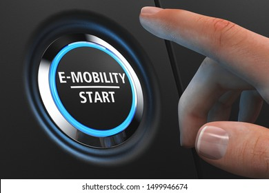 E-Mobility Start - blue illuminated push button (3D Rendering)