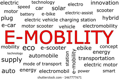 E-Mobility Wordcloud on white background - illustration
