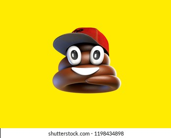 Emoji 3D rendering with red hat