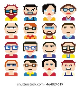 Emoji emoticon expression icons in style pixel graphics pictogram of male and fun people female faces