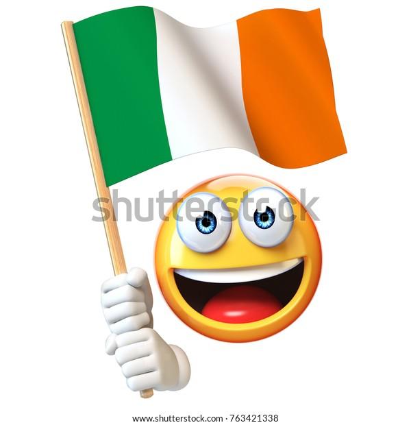 Emoji Holding Irish Flag Emoticon Waving Stock Illustration 763421338