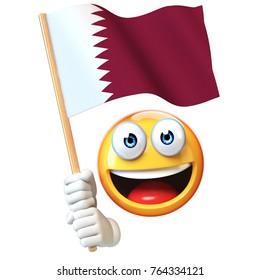 Emoji holding Qatar flag, emoticon waving national flag of Qatar 3d rendering