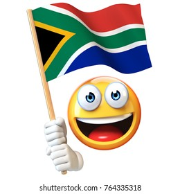 Emoji holding South African flag, emoticon waving national flag of South Africa 3d rendering