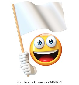 Emoji holding white flag, emoticon waving blank flag with copy space 3d rendering