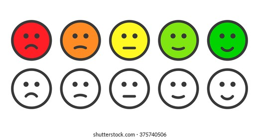 Emoji icons, face icon, emoticons for rate customer satisfaction level. Five grade smileys for customer survey, feedback, vote, review and rate. Customer service. Colored and outline icons.