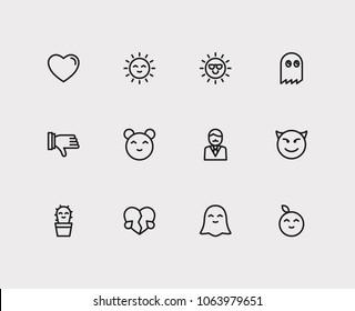 Emoji icons. Set of broken heart love, emoji sun and cute cactus emoji  sign symbols.  illustration of gesture emoticons set for logo web mobile design.