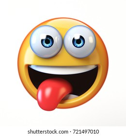 Emoji isolated on white background, smiling face emoticon with stuck-out tongue 3d rendering