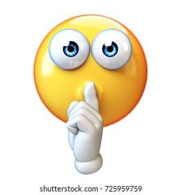 Emoji making silence hand gesture isolated on white background, emoticon with finger over his mouth 3d rendering
