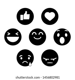 Emoji Reactions. Black icons. Flat Design Style.