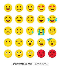 Emoji set. Emoticon cartoon emojis symbols digital chat objects icons set