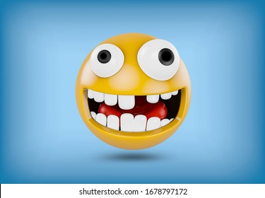 Emoji with a squint and without a tooth - isolated on blue background
