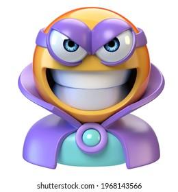 Emoji super villain, emoticon masked as evil character, 3d rendering