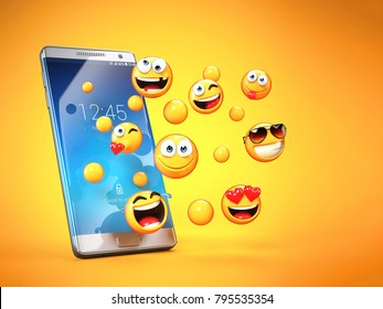 Emojis around mobile phone, smart phone messaging with emoticons 3d rendering