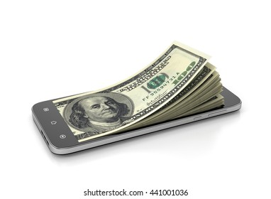 E-money concept. Smartphone with money from the screen. 3d illustration