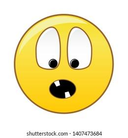 Emoticon eyes bulging toothless teeth