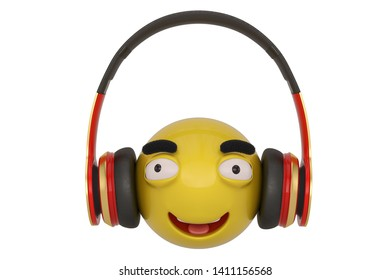 Emoticon and headphones isolated on white background. 3D illustration.