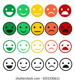 . Emoticon icons in flat style. Emoticon collection on a white background