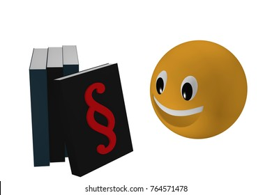 Emoticon looks at a book with paragraph marks leaning against other books. 3d rendering