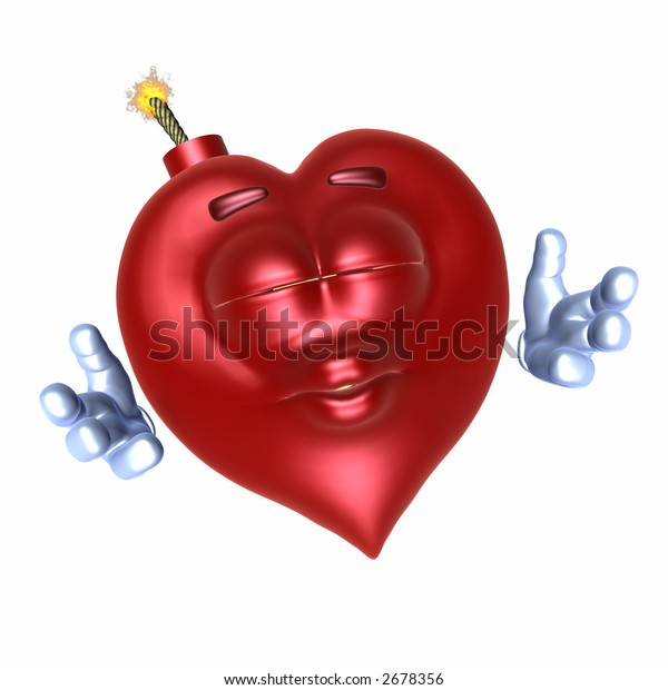 Emoticon smiley bomb shaped like a heart puckered for a kiss and a hug.  Has a red satin texture and sheen. Isolated on a white background.