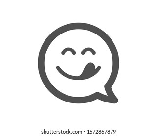 Emoticon with tongue sign. Yummy smile icon. Speech bubble symbol. Classic flat style. Simple yummy smile icon.
