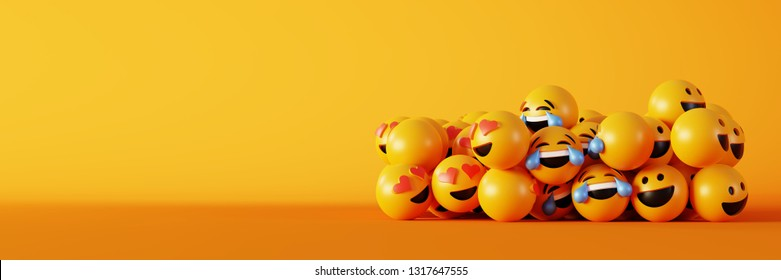 Emoticons 3d rendering background, social media and communications concept