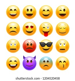 emoticons emoji set. Smile face character for chat web.