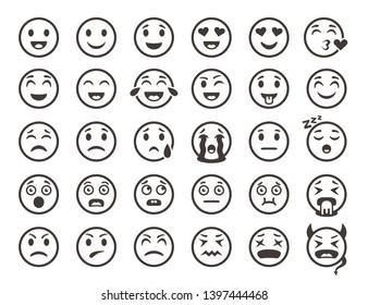 Emoticons outline. Emoji faces emoticon funny smile  line icons set