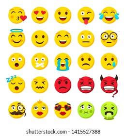 Emoticons set. Emoji faces emoticon funny smile  packs collection