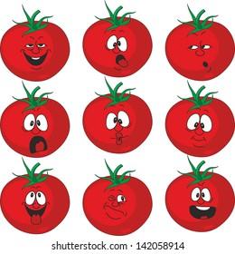 Emotion cartoon red tomato vegetables set 015