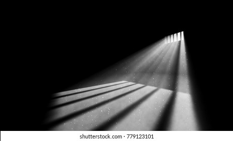 An emotional 3d rendering of an askew jail window light in a completely black prison cell. The beams of sun look like a ray of hope for freedom. They make wicked white stripes on prison floor.