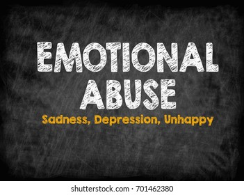 Emotional Abuse concept. Sadness Depression Unhappy. Black board with texture, background