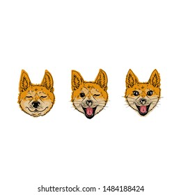 The emotional coloring head of a dog. A cheerful muzzle of a fox-like dog. Posters with dogs shiba inu.  Japanese breed of dog.