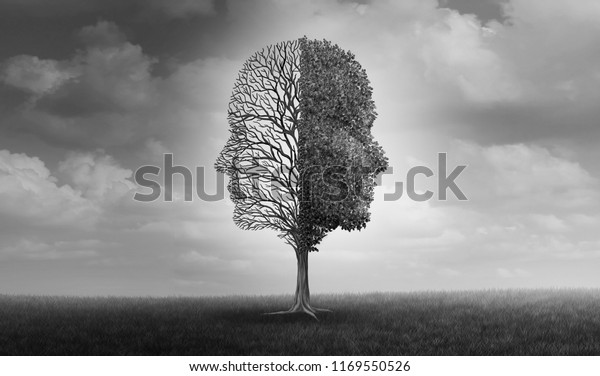 Emotional disorder and human emotion or mood problem as a tree shaped as two human faces with one half empty branches and the opposite side full of leaves as a psychological icon with 3D elements.