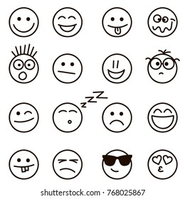 Emotional hand drawn faces isolated on white. Raster version