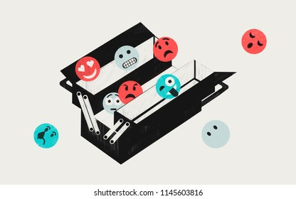 Emotional intelligence EI. Personal skills. Colorful conceptual illustration shows toolbox with emotions emoticons.