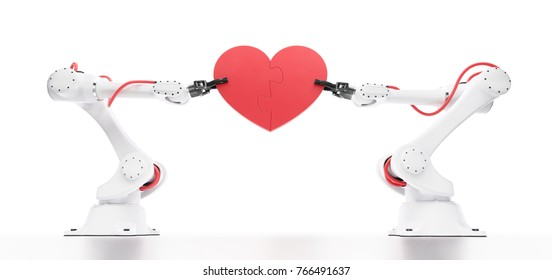 Emotional Intelligence In Robotics. Industrial robots holding heart-shaped jigsaw puzzle. 3D-rendering graphic composition on the subject of 'Artificial Intelligence'.
