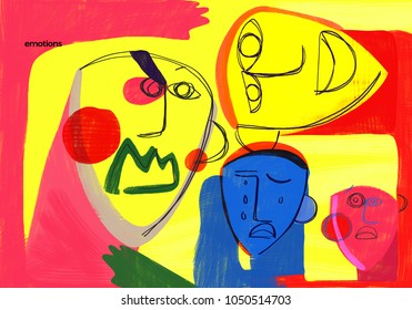Emotions. Conceptual illustration shows faces expressing emotions with colorful and abstract style. Visual concept of emotions.