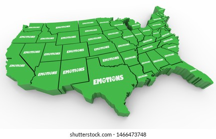 Emotions Feelings Mental Emotional States USA America Map 3d Illustration