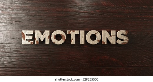 Emotions - grungy wooden headline on Maple  - 3D rendered royalty free stock image. This image can be used for an online website banner ad or a print postcard.